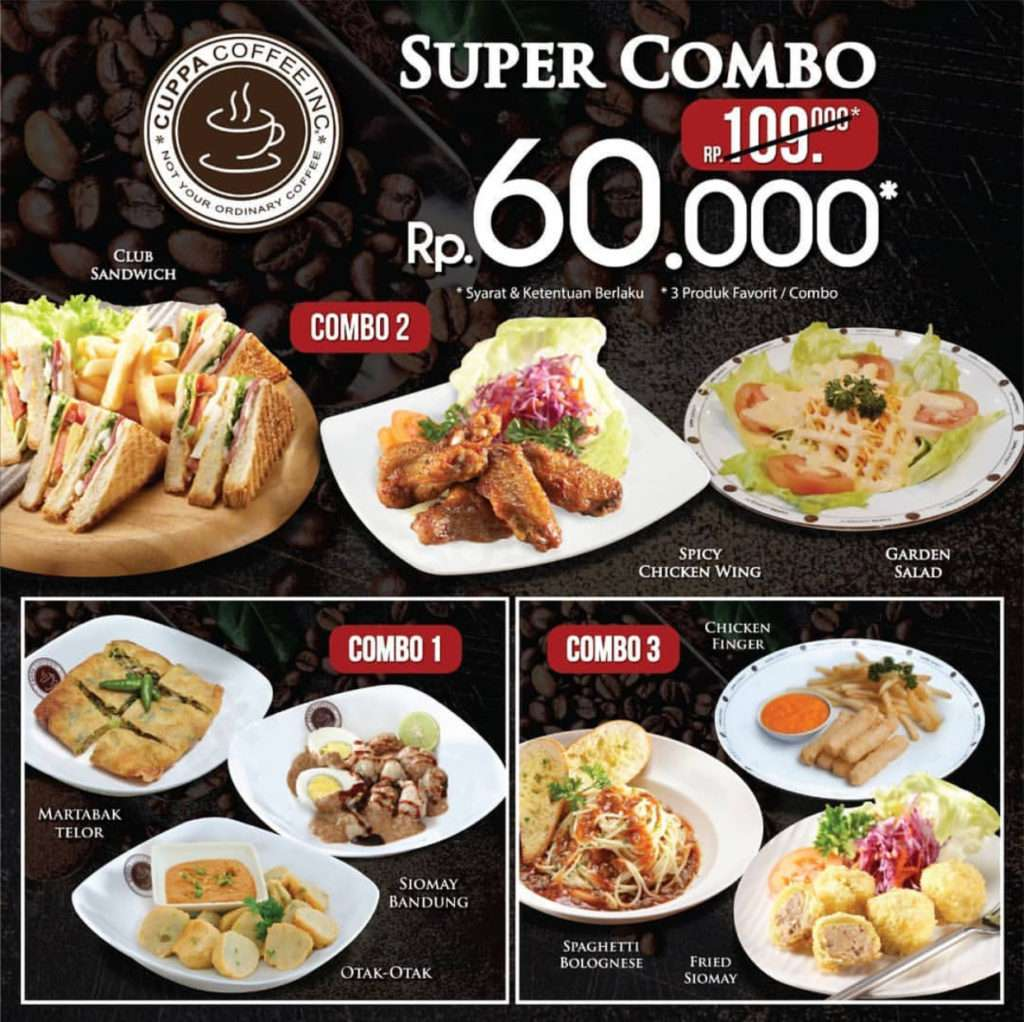 Diskon Cuppa Coffee Super Combo Paket 3 Menu Favorit hanya Rp. 60.000