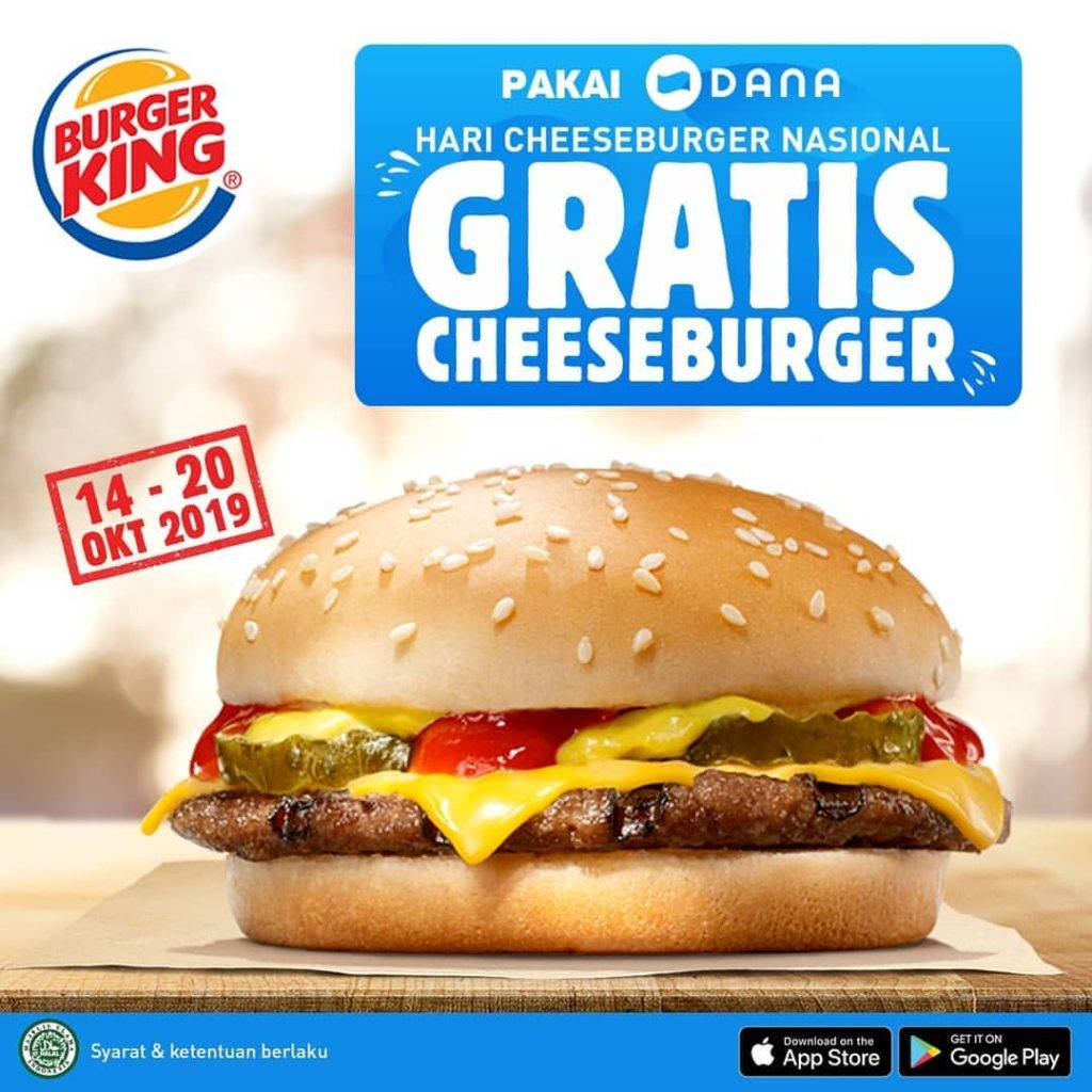 Burger King Promo GRATIS Cheeseburger dengan DANA