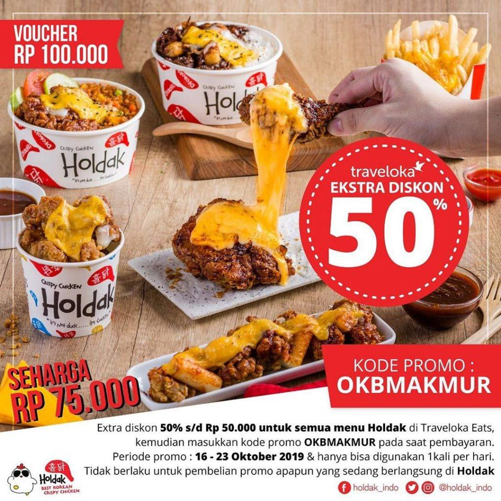 Holdak Promo Harga Spesial Voucher Makan Rp. 100.000 cuma Rp. 75.000 + Diskon hingga 50% via Travelo