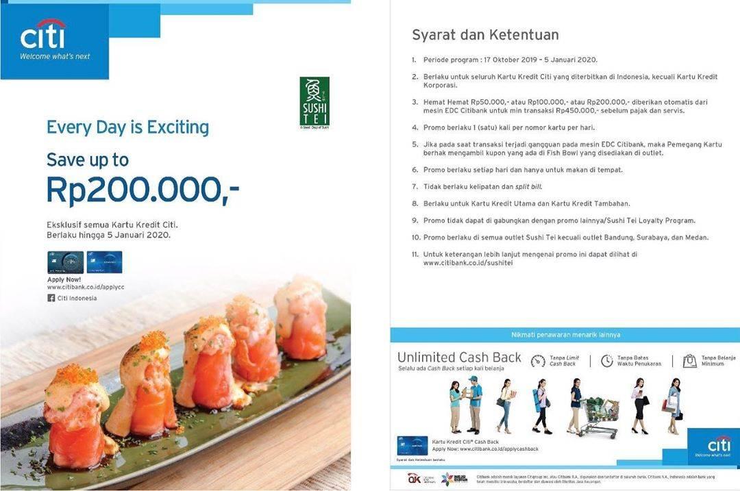 Diskon Sushi Tei Promo Save Up to Rp. 200.000 dengan Kartu Kredit Citi