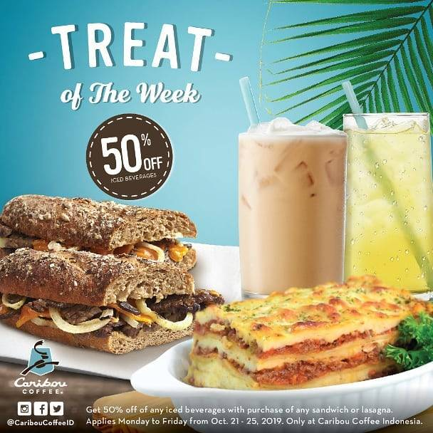 Diskon Caribou Coffee Promo Treat of The Week Discount 50% off Iced Beverages