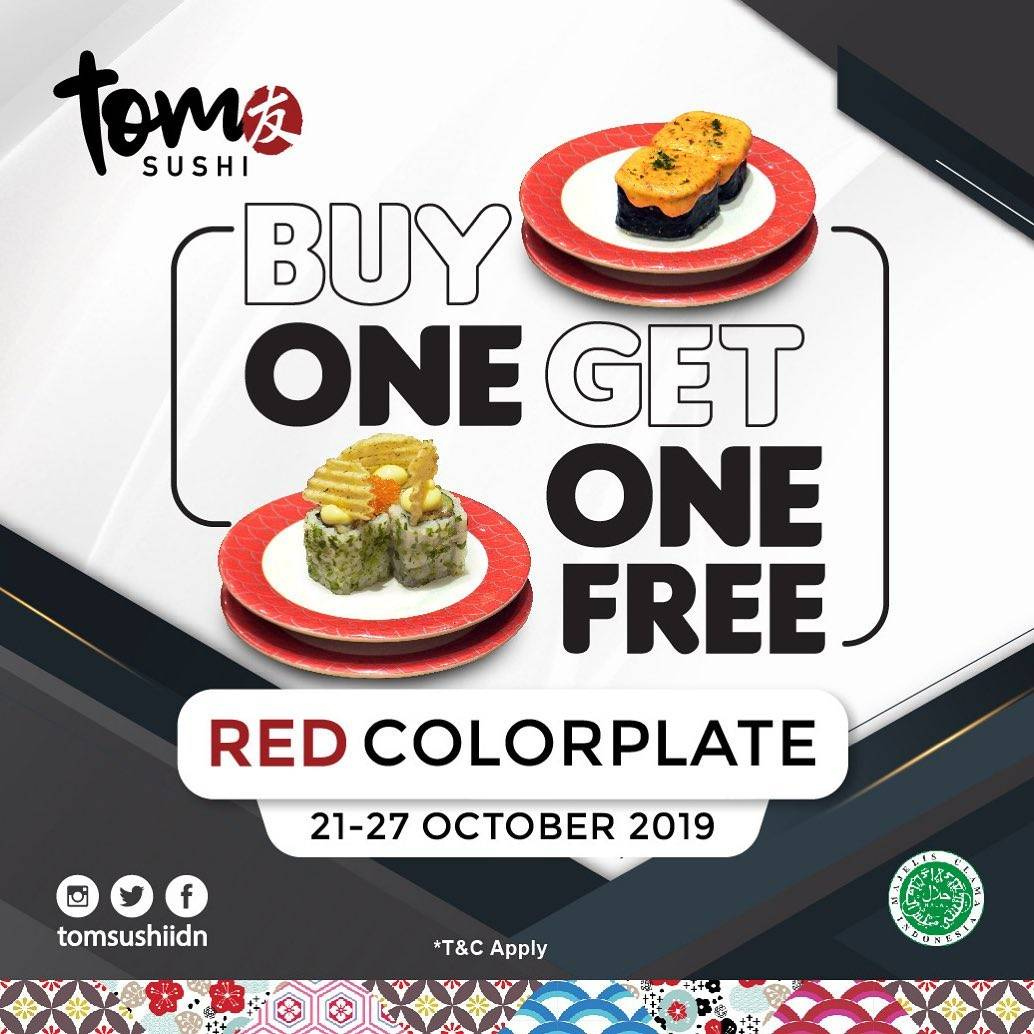 Tom Sushi Promo Buy One Get One FREE Red Colorplate