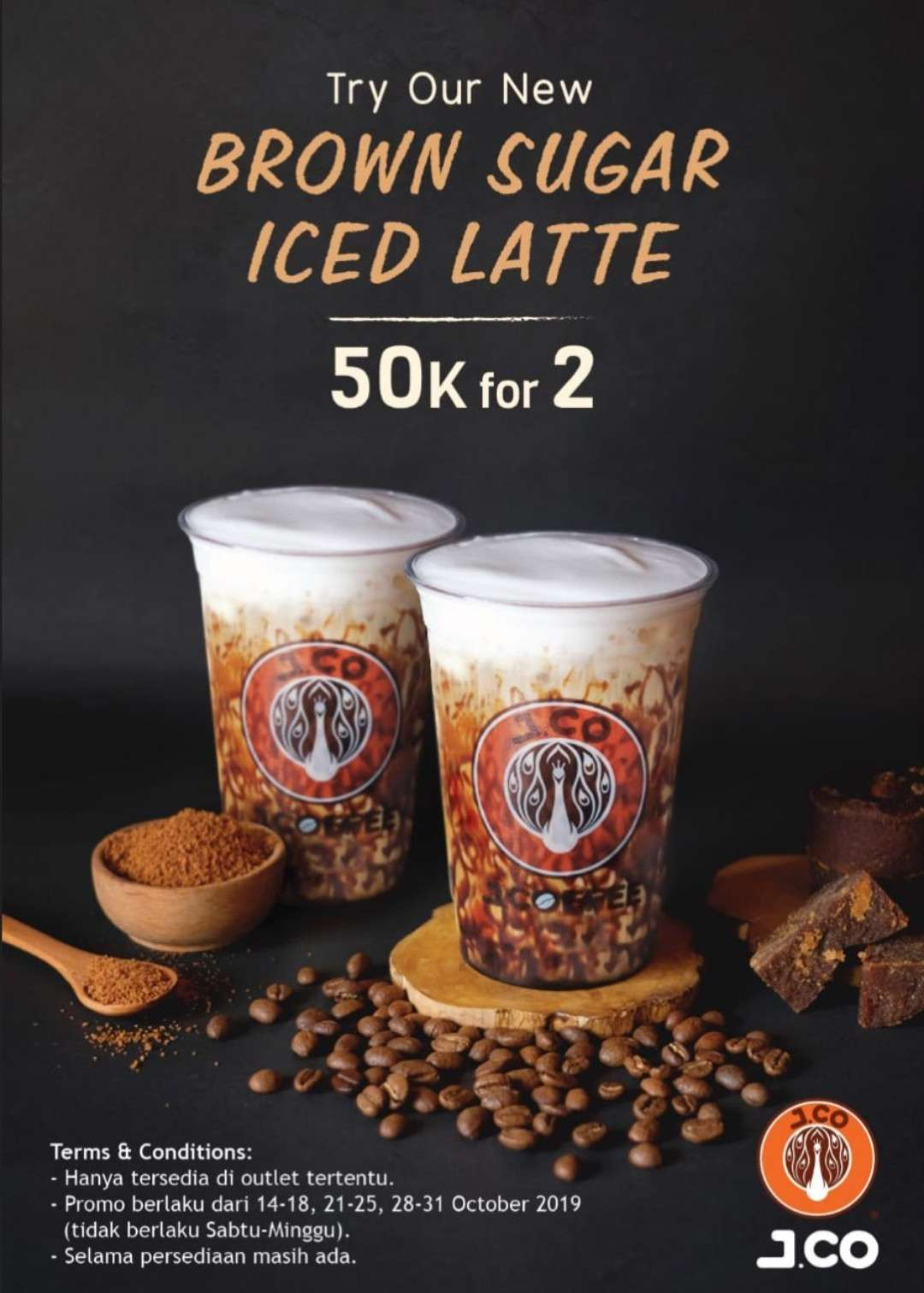Jco New Brown Sugar Iced Latte Harga Spesial Rp. 50.000 untuk 2 Cup