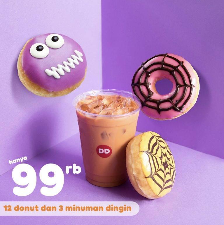 Diskon Dunkin Donuts Promo Paket 12 DONUT dan 3 Minuman Dingin hanya Rp. 99.000 dengan Kupon Line