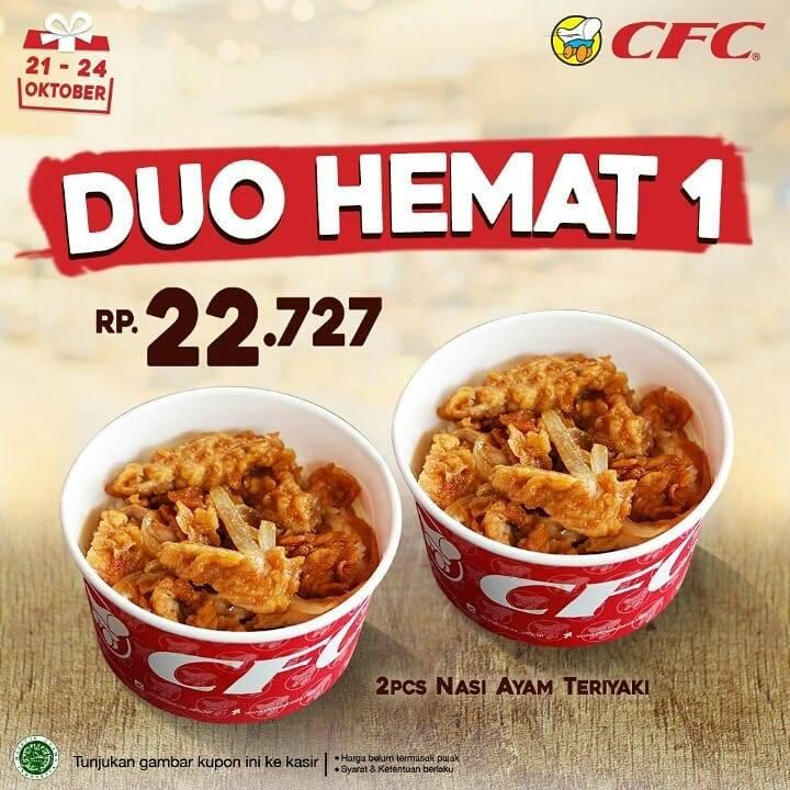 CFC Promo Kupon Duo Hemat – Paket 2 Nasi Ayam Teriyaki atau 2 Paket Bento 4 mulai Rp. 22.727 saja