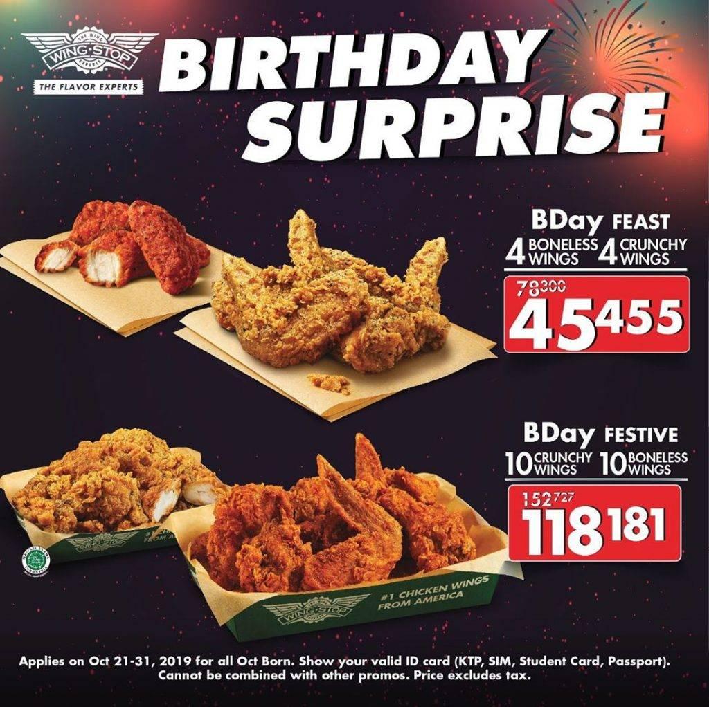 Wingstop Birthday Surprise Paket Spesial Ulang Tahun mulai Rp. 45.455 saja