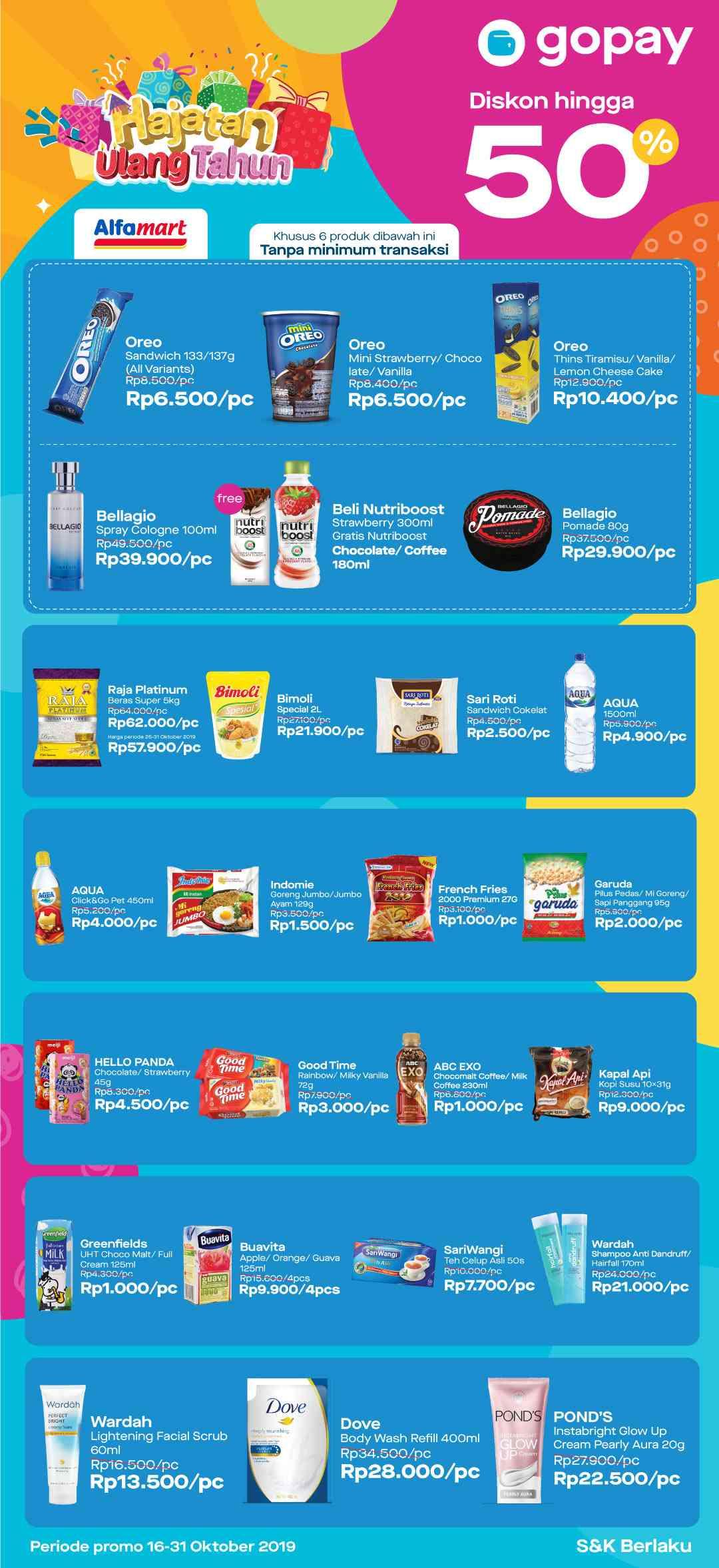 Alfamart promo Hajatan Ulang Tahun Belanja Pakai Gopay dapat Harga Spesial