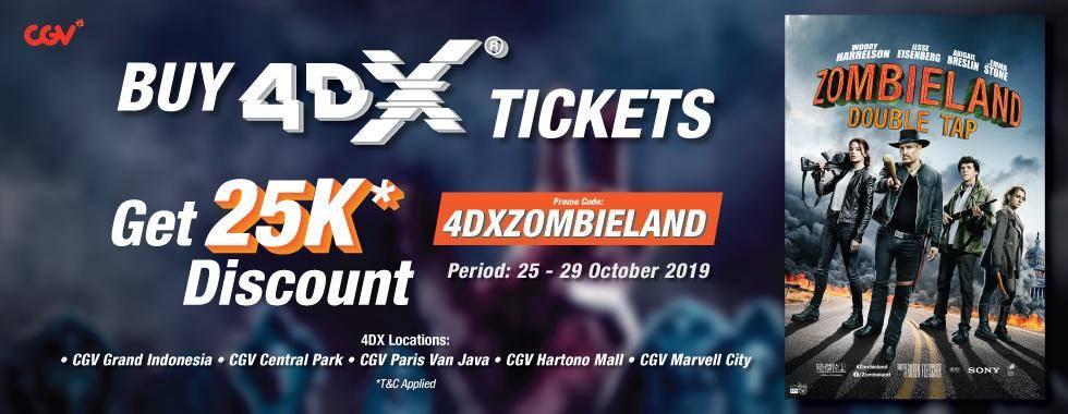 CGV Promo Spesial Diskon Rp 25,000 Untuk Nonton Zombieland di 4DX