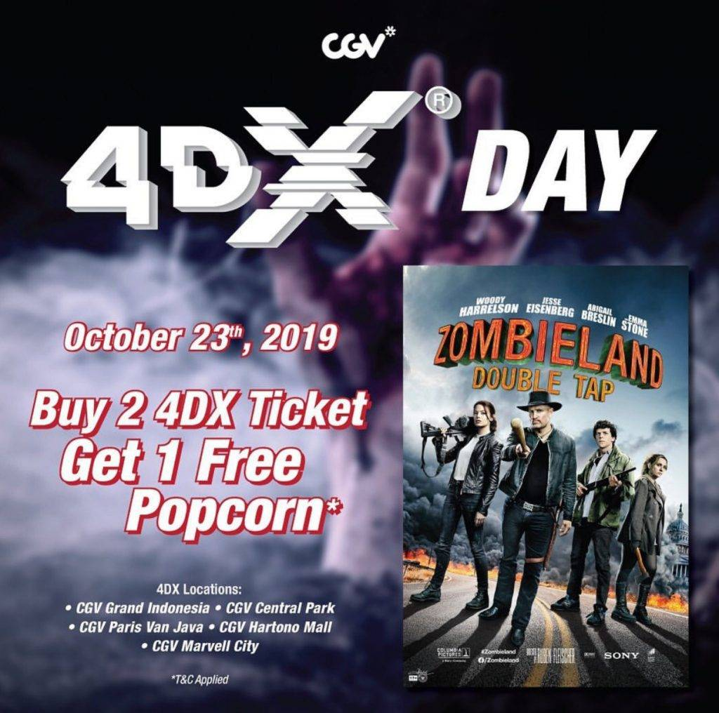 CGV Promo Wednesday Beli 2 Tiket 4DX Zombieland Double Tap Dapat 1 Popcorn Gratis