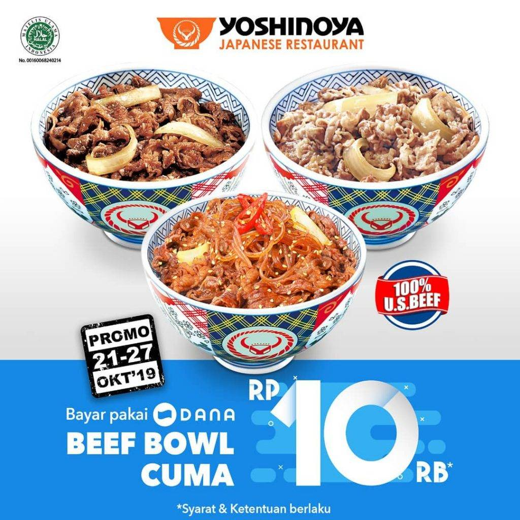 Yoshinoya Promo Beef Bowl cuma Rp. 10.000 pakai DANA