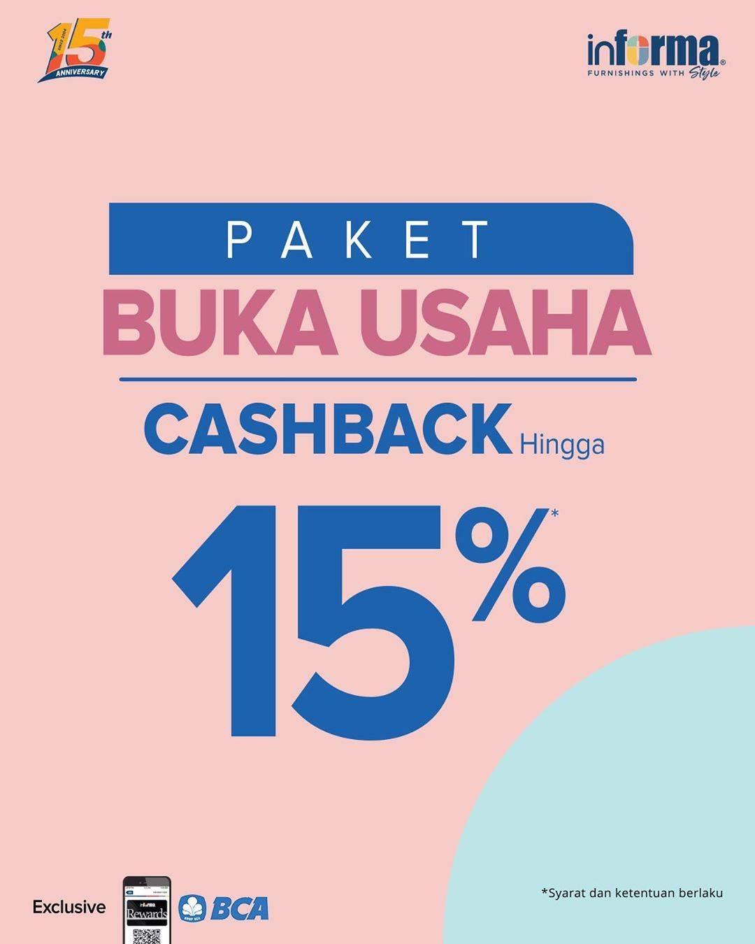 Informa Promo Paket Bikin Usaha Cashback Hingga 15%