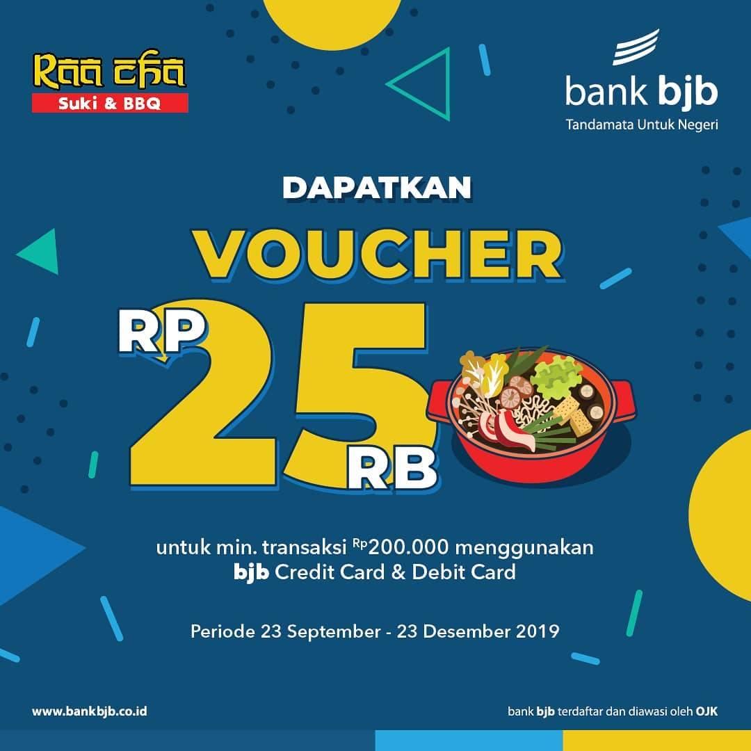 Raa Cha Suki & BBQ Promo GRATIS Voucher senilai Rp 25.000 dengan Kartu Debit atau Kartu Kredit Bank
