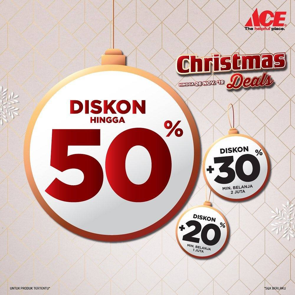 ACE Christmas Deals Diskon Hingga 50% + 30% + 20%