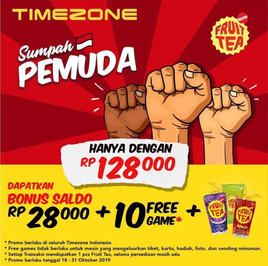 Timezone Promo Sumpah Pemuda Bonus saldo Rp28.000 + 10 Free Games+ 1 Friut Tea