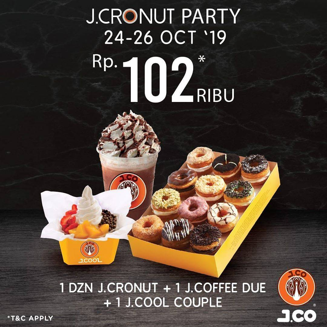 JCO Promo JConut Party Paket 1 Lusin JCronut + 1 JCoffee Due +1 JCool Couple hanya Rp. 102.000