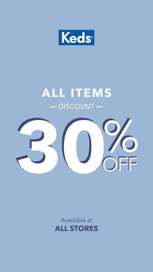 Diskon Keds Promo Discount 30% off for All Items