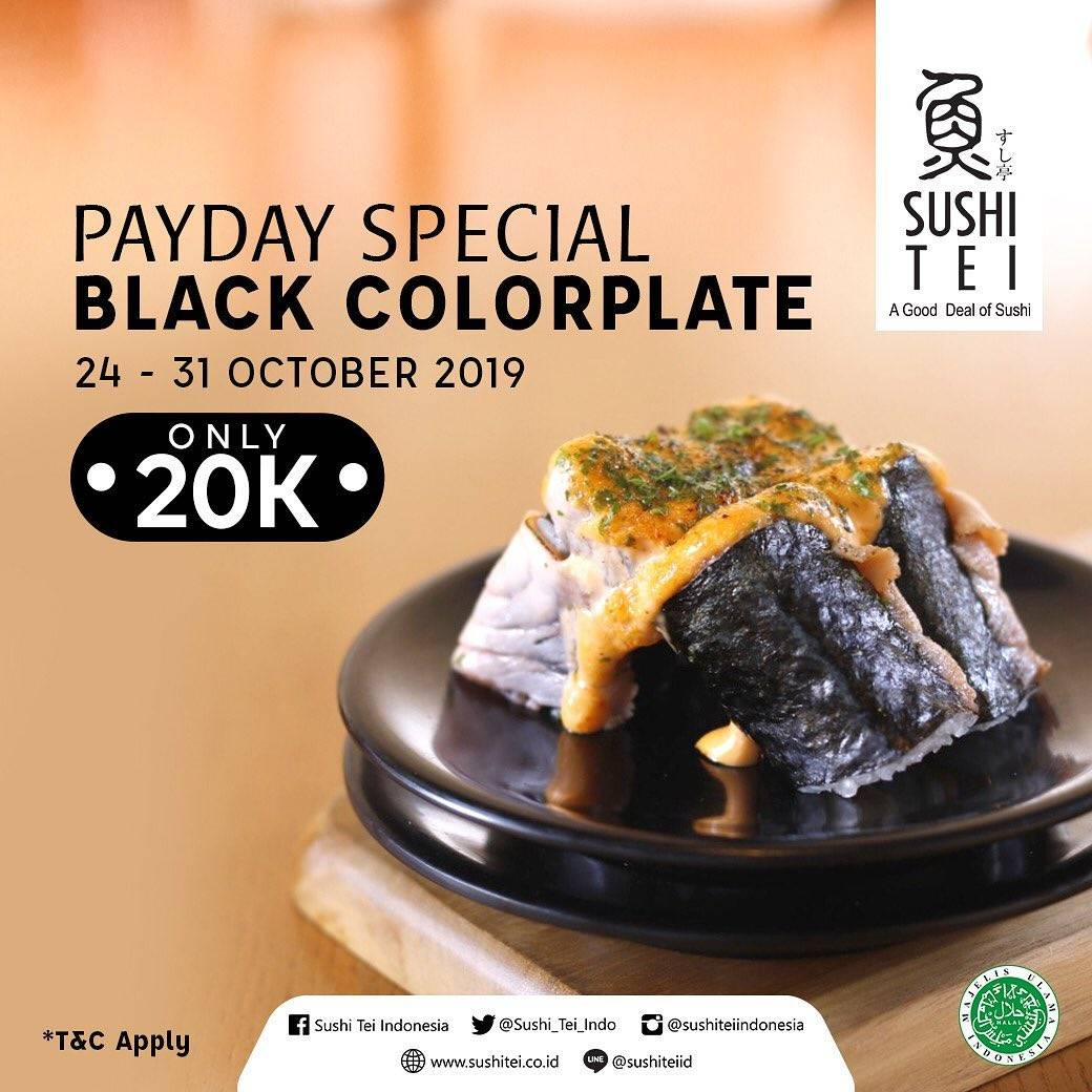 Sushi Tei Promo Payday Special Black Colorplate only Rp 20.000