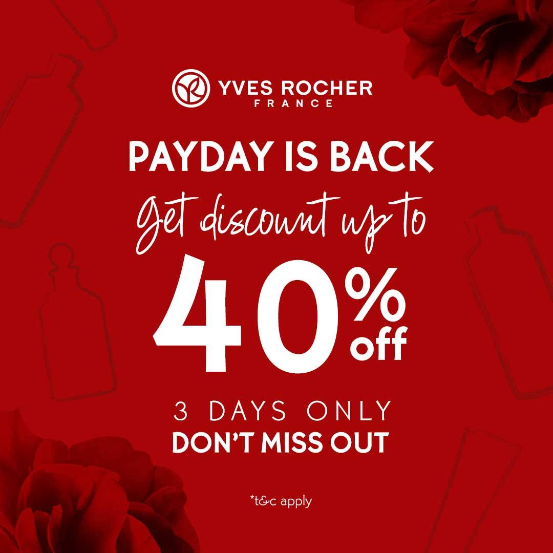 Yves Rocher Payday Promo Get Discount Up to 40% off