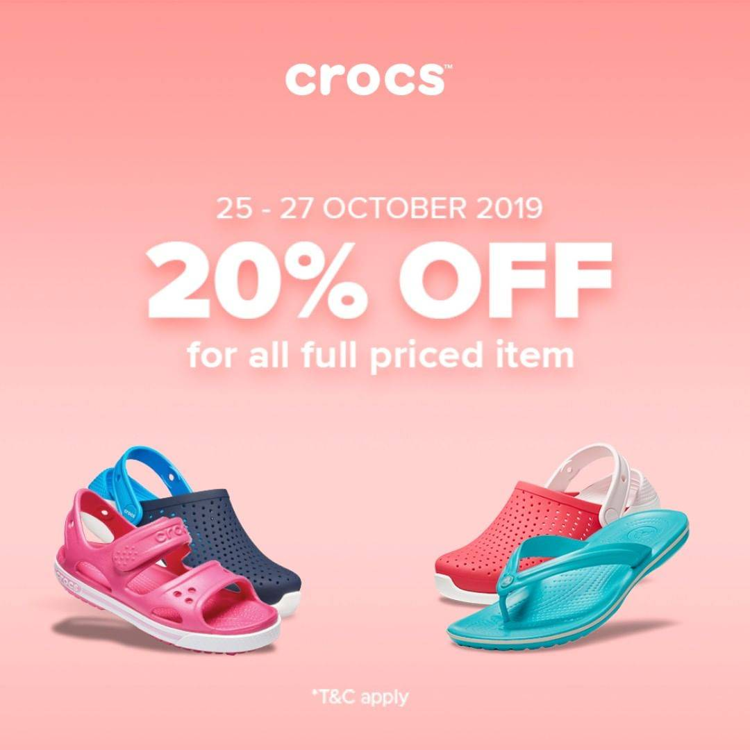 Diskon Crocs Promo Discount 20% Off For All Full Priced Item