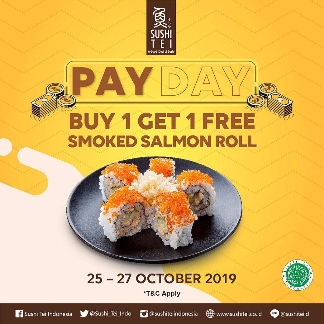 Sushi Tei Payday Promo Buy 1 Get 1 FREE Smoked Salmon Roll