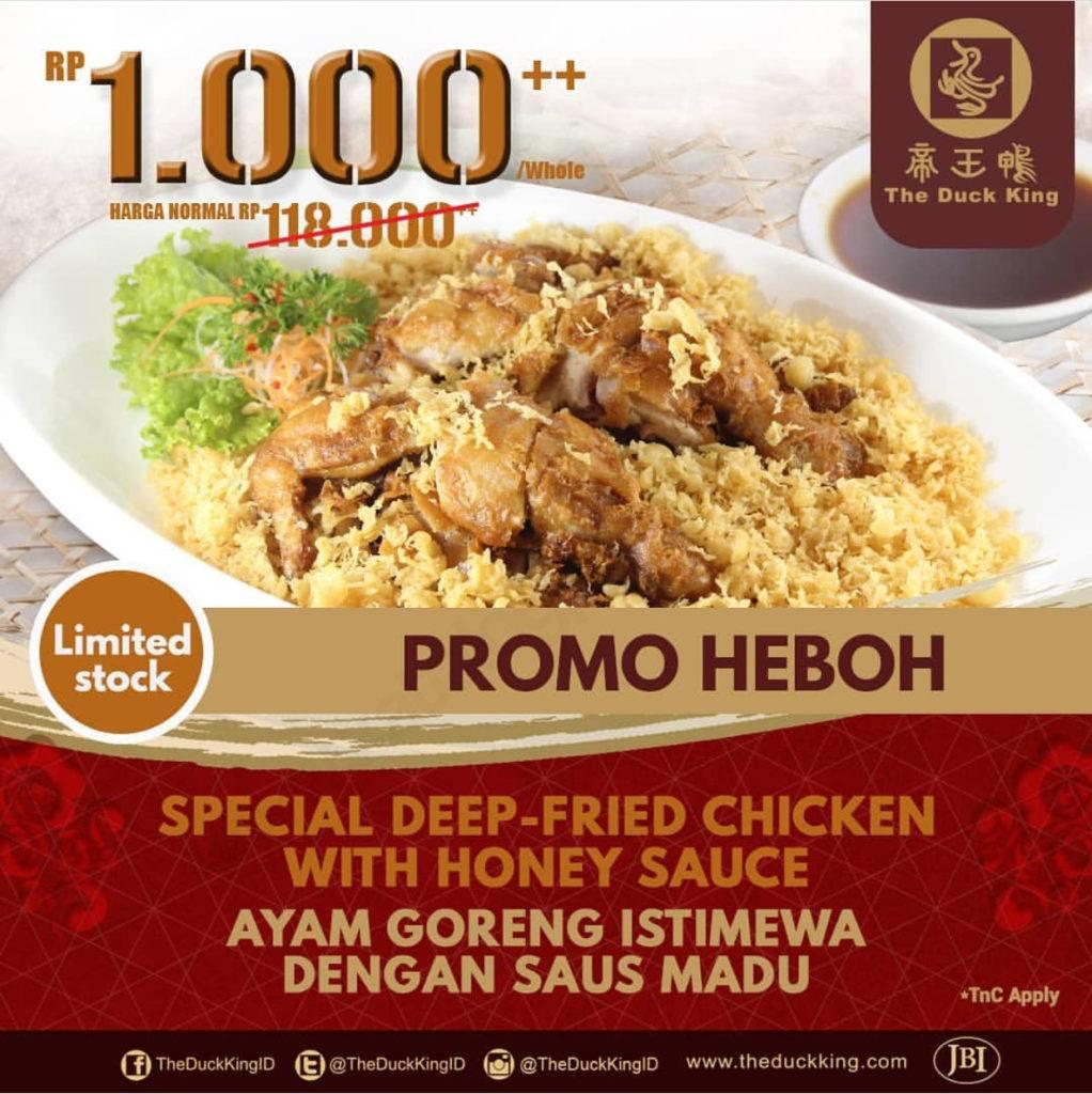 The Duck King Promo Heboh Ayam Goreng Istimewa Saus Madu Harga Spesial Hanya Rp1000++!