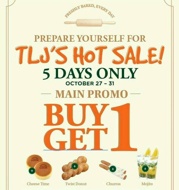 Tous Les Jours Promo Buy 1 Get 1 for Cheese time, Twist Donut, Churros, and Mojito