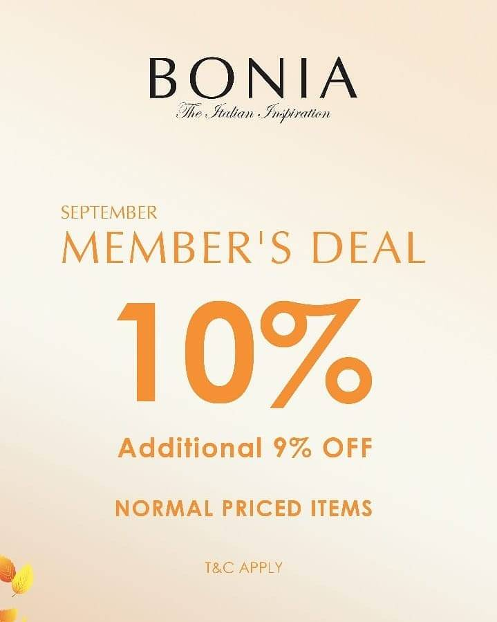 Bonia Payday Promo 40% off + 10% for Member
