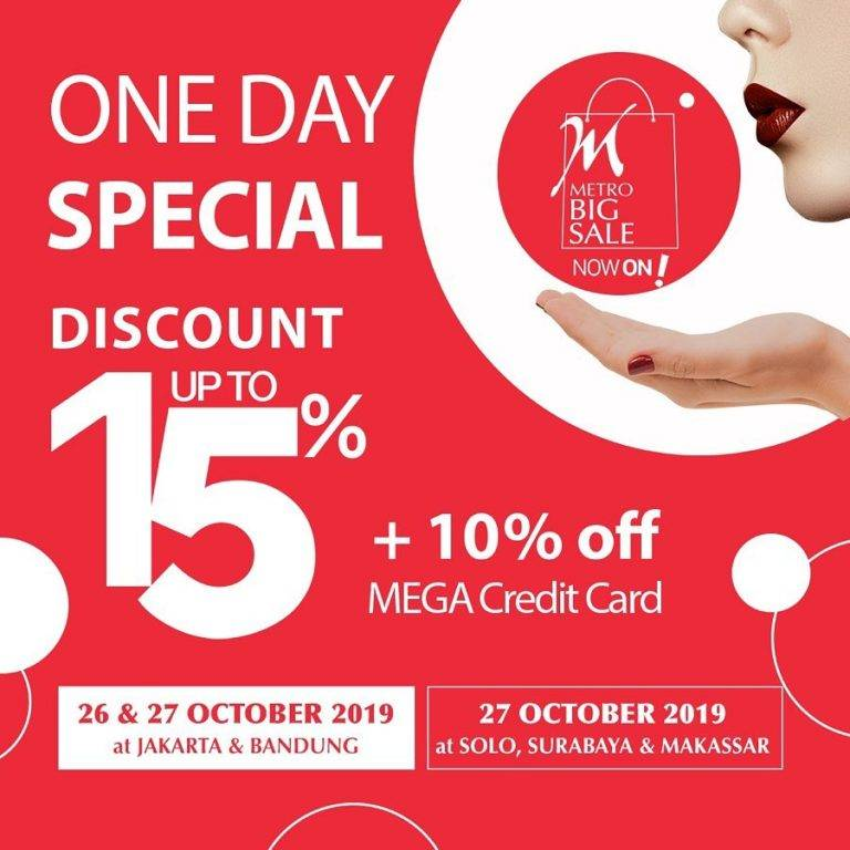 Metro BIG SALE One Day Special Discount 15%*+ 10% Off and Buy 1 Get 1 Free