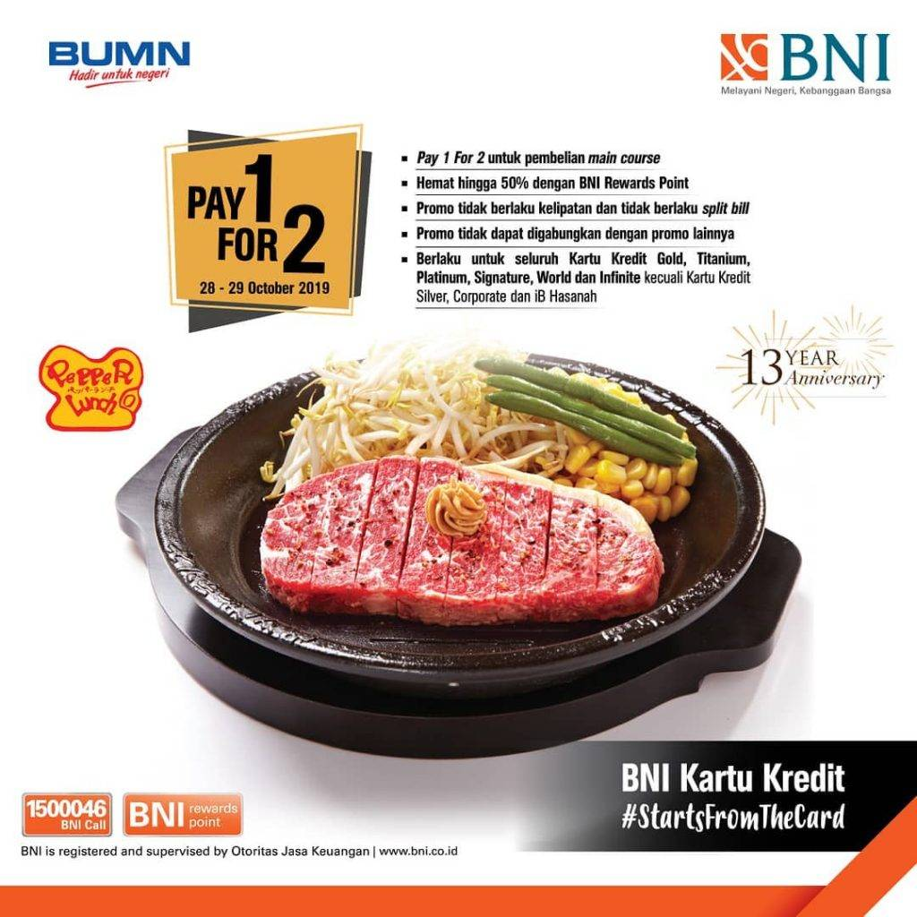 Diskon Pepper Lunch Promo PAY 1 FOR 2 dengan Kartu Kredit BNI
