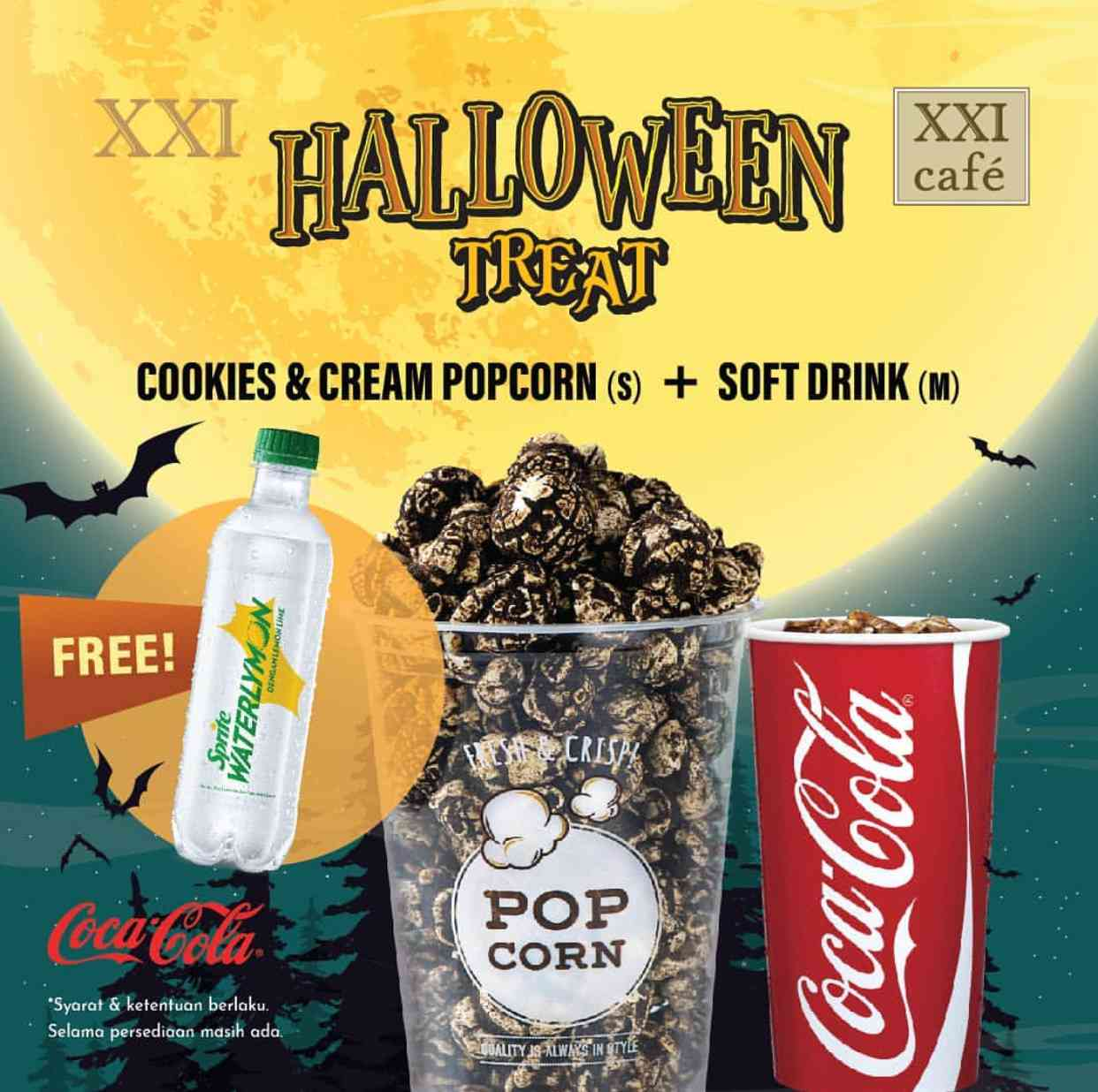 XXI CAFE Promo Halloween Treat Beli Paket Cookies & Cream Popcorn + Soft Drink (m) GRATIS Sprite Wat