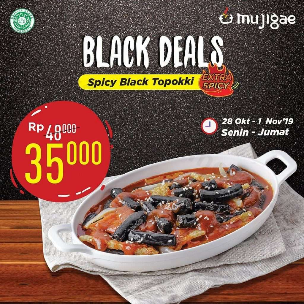 Mujigae Promo Black Deals Spicy Black Topokki Only Rp 35.000