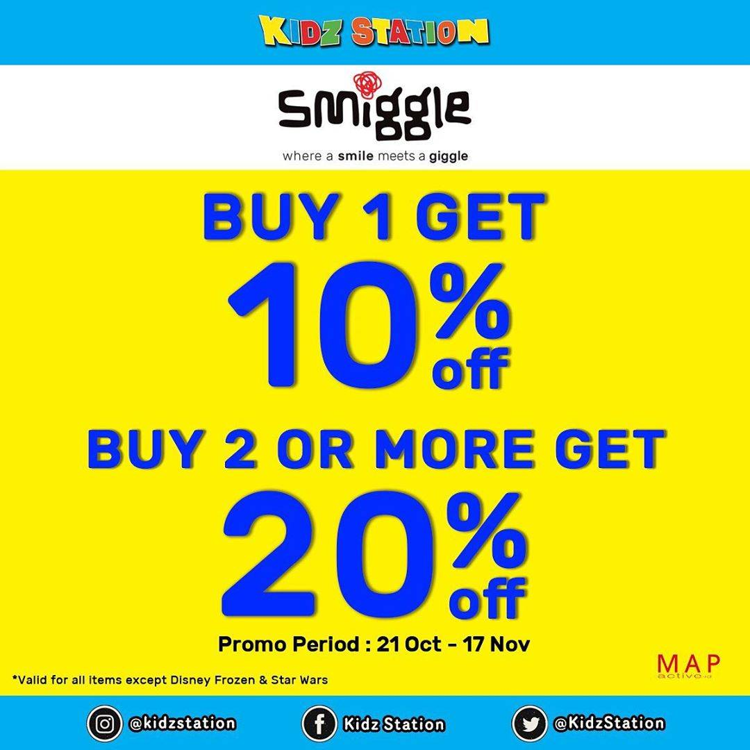 Kidz Station Promo Discount 10% For SMIGGLE Product & Buy 2 Get 20% Off