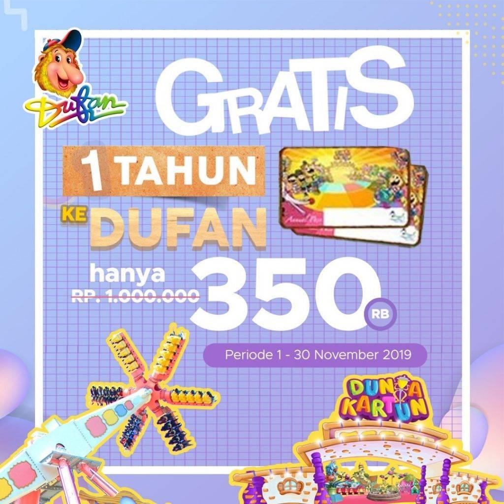 Dufan Promo Annual Pass November GRATIS MAIN SETAHUN cuma Rp. 350.000