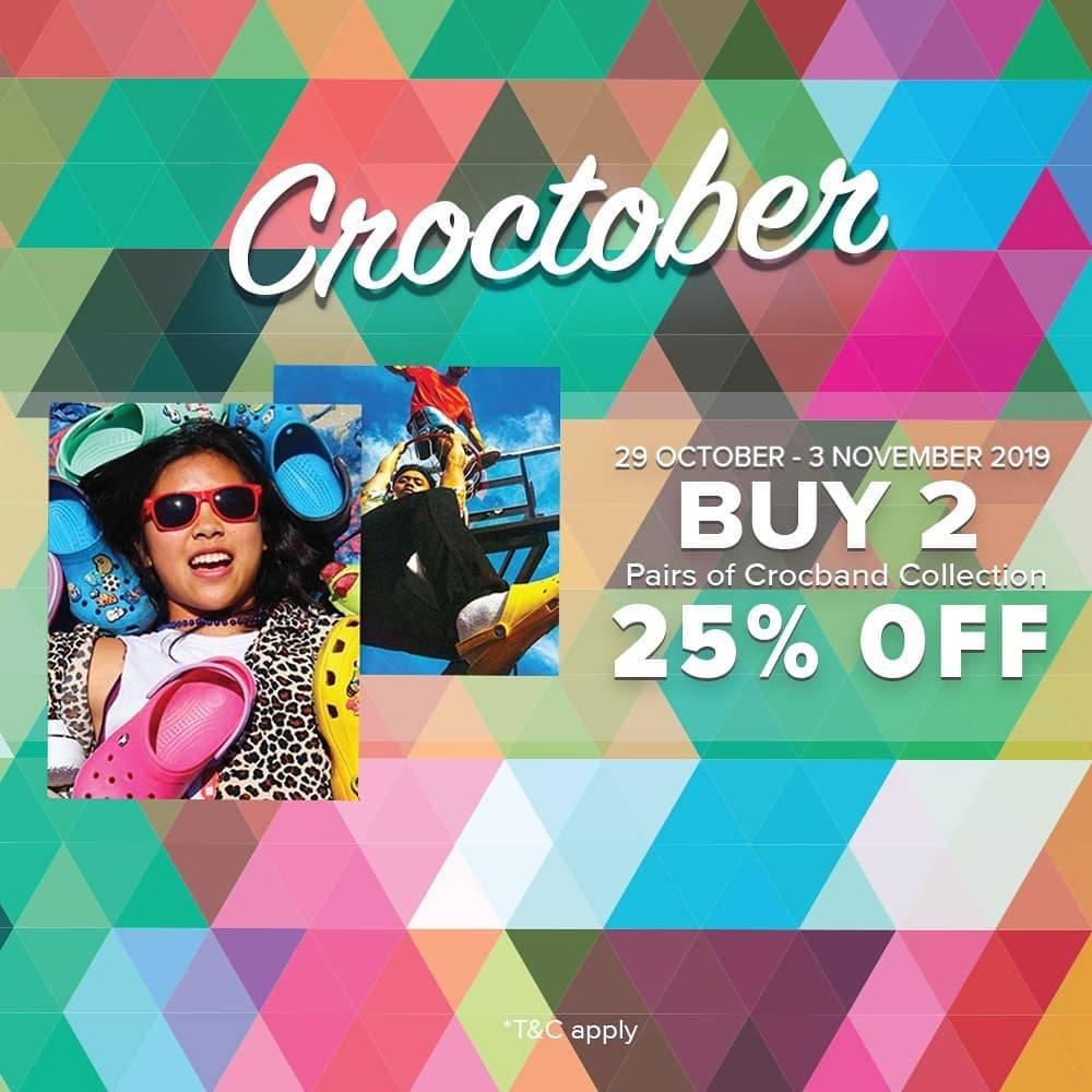 Crocs Promo Croctober Diskon 25% Untuk Pembelian 2 Pasang Sepatu Koleksi Crocband