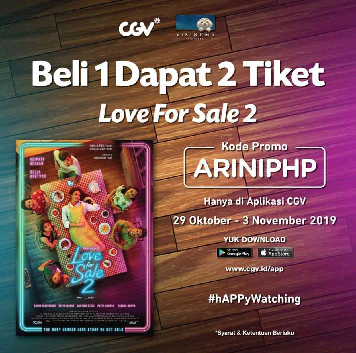 Diskon CGV Cinema Promo Beli 1 Dapat 2 Tiket Love For Sale 2 di Aplikasi CGV