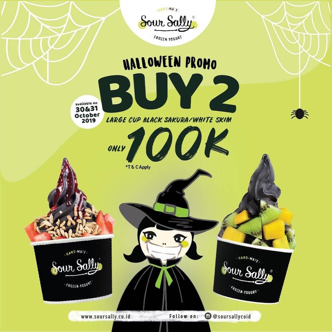 Sour Sally Promo Halloween Beli 2 Large Cup Black Sakura atau White Skim Rp. 100.000