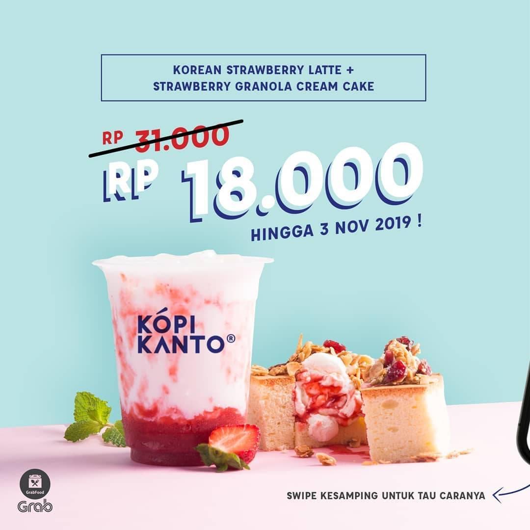 Kopi Kanto Promo Paket Korean Strawberry Latte + Strawberry Granola Cream Cake Rp. 18.000 via GrabFo