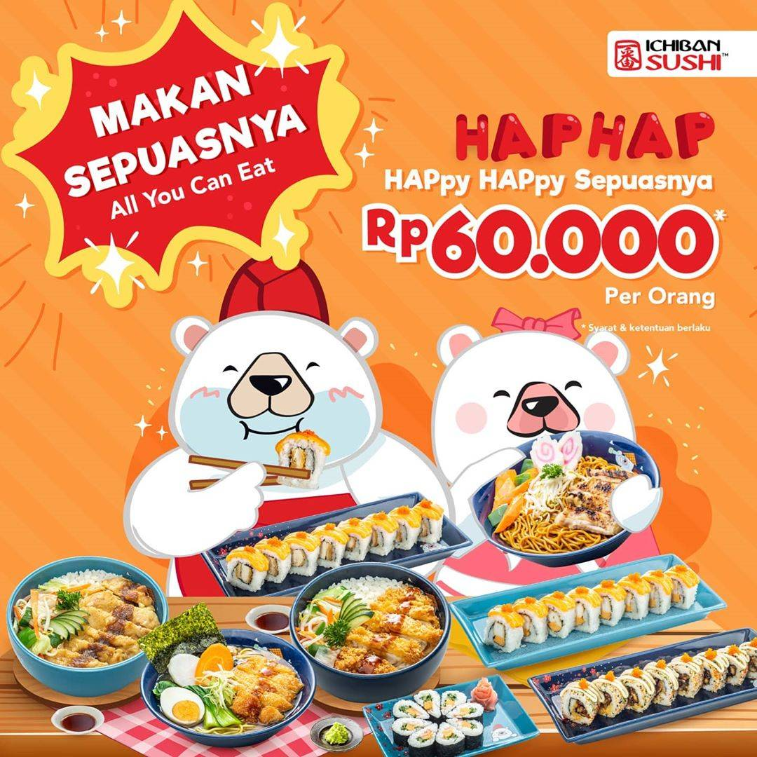 Diskon Ichiban Sushi Promo HAP HAP - All You Can Eat