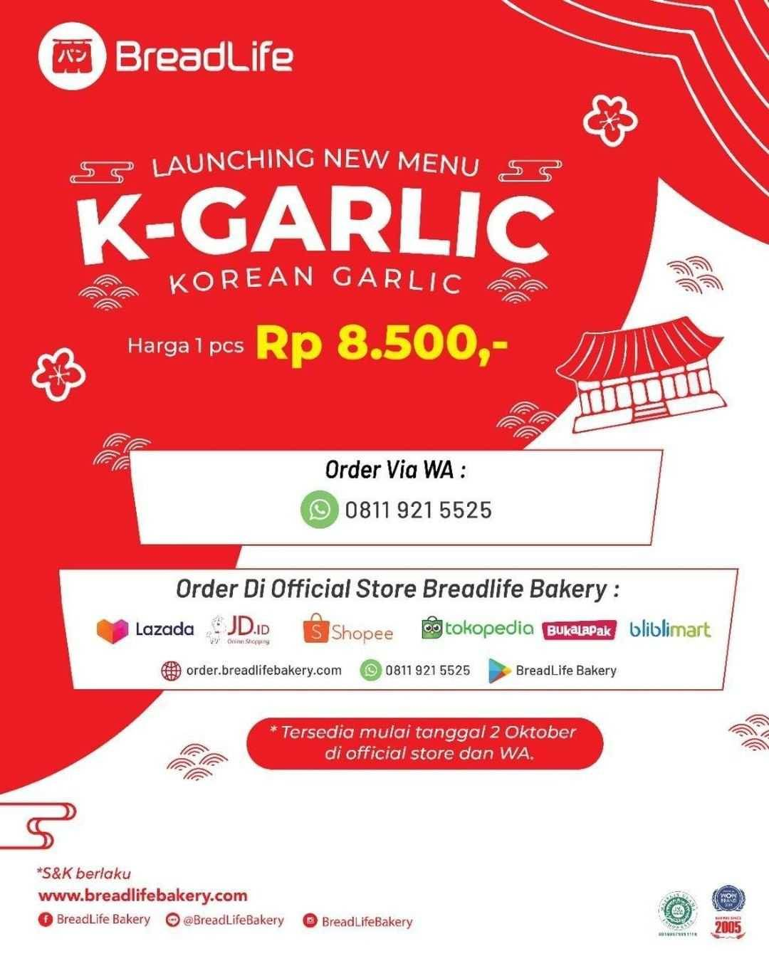 Promo diskon Breadlife Promo New Menu K- Garlic