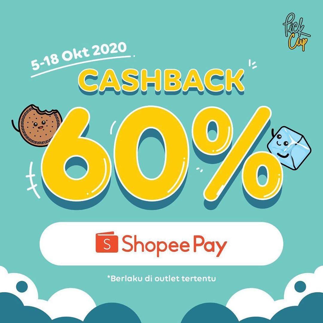 Diskon Pick Cup Promo Cashback 60% Untuk Transaksi Dengan Shopeepay