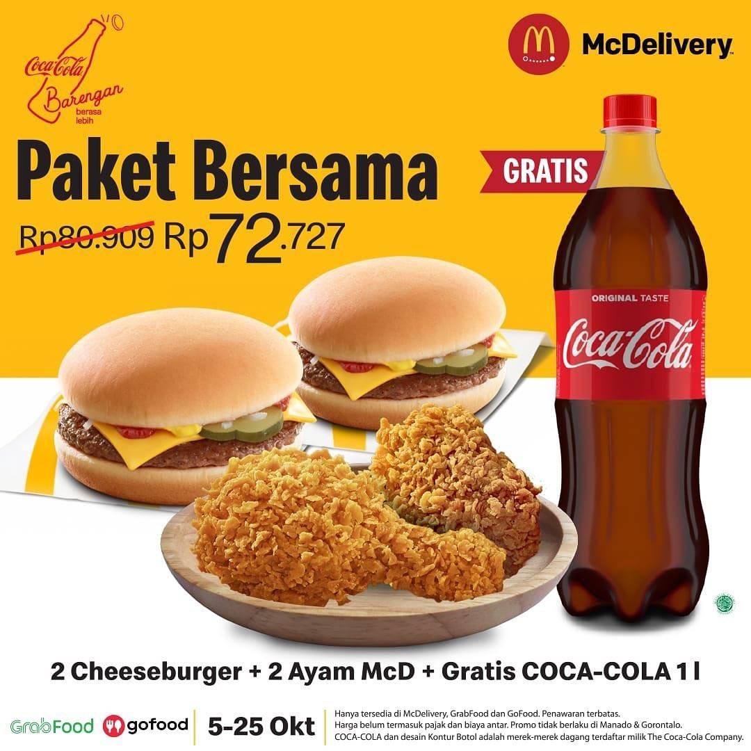 Diskon McDonalds Promo Paket Bersama - Gratis Coca Cola 1Liter