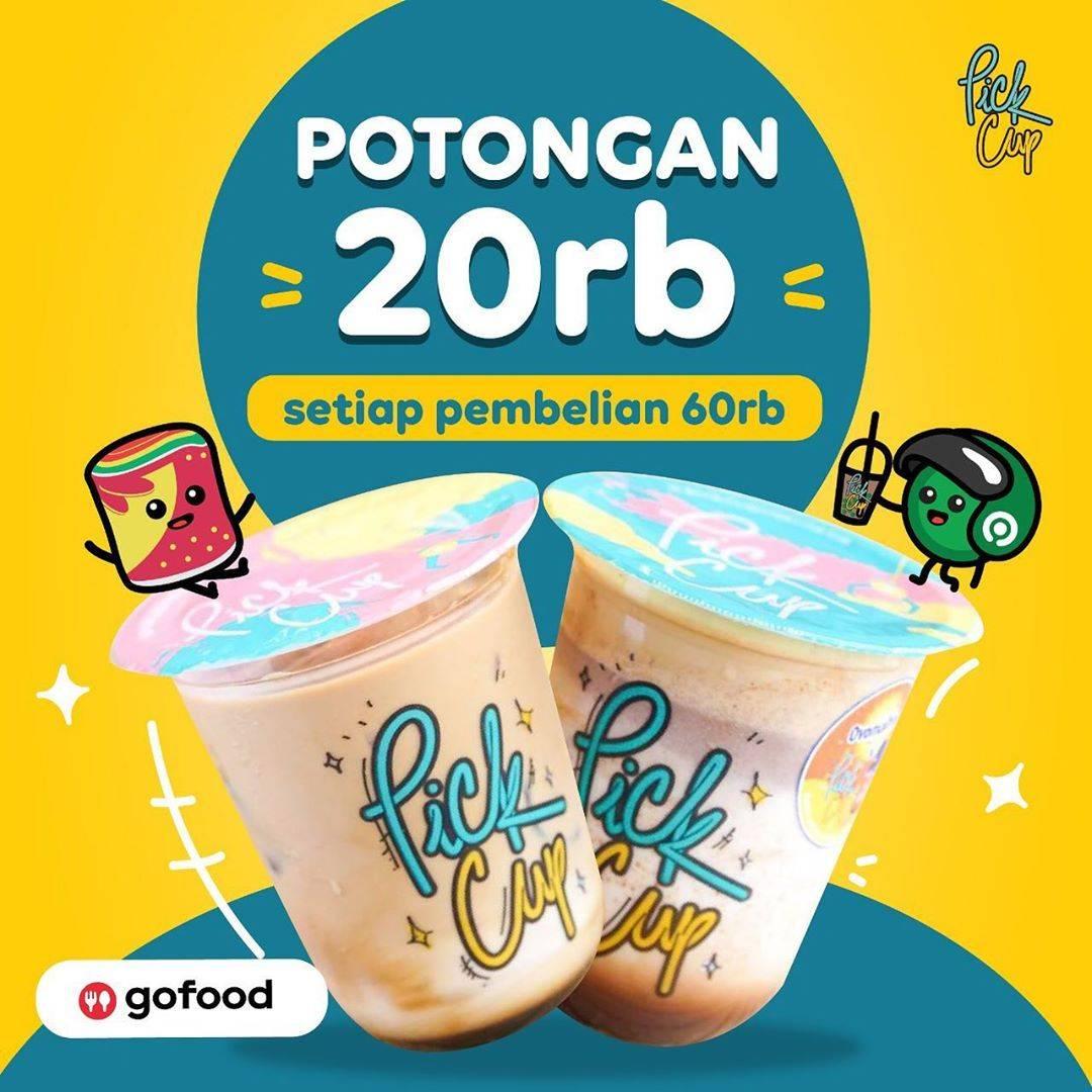 Diskon Pick Cup Promo Potongan Rp. 20.000 Di GoFood
