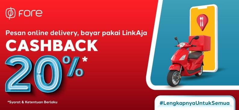 Promo diskon LinkAja Promo Cashback 20% di McD, Hokben dan Fore Coffee