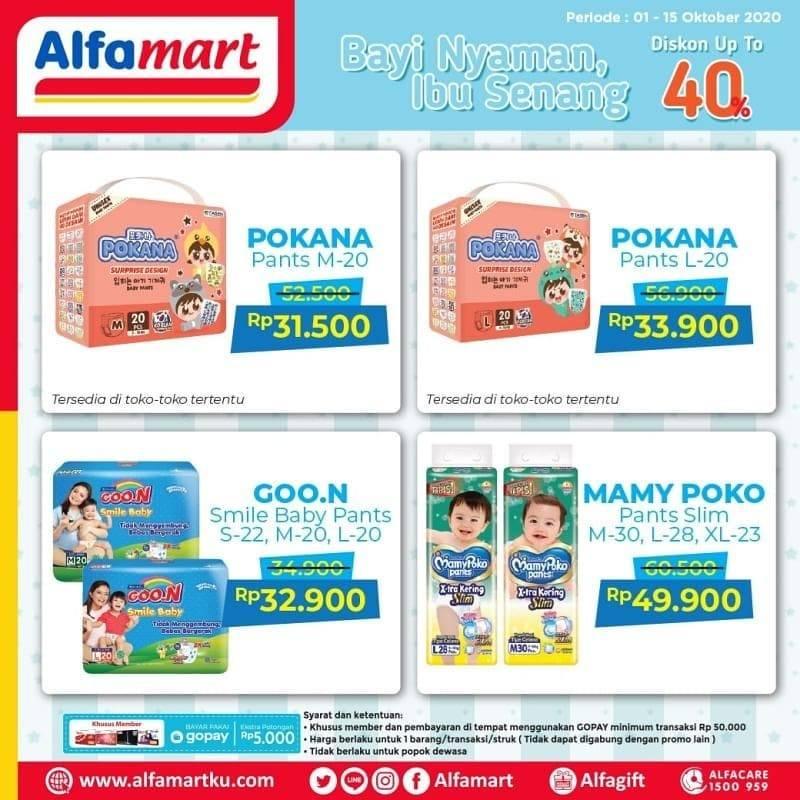 Diskon Katalog Promo Alfamart Popok Bayi diskon 40% Periode 1 - 15 Oktober 2020