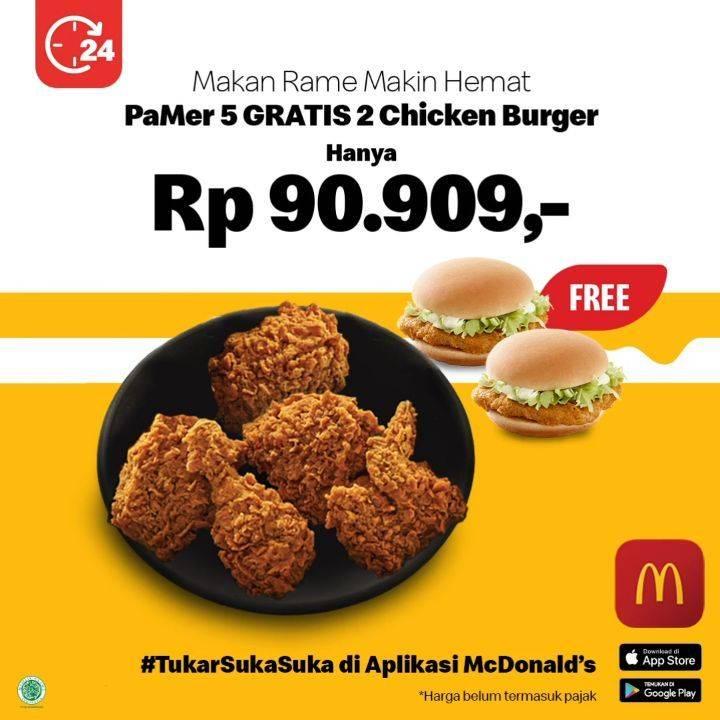 Diskon McDonalds Promo Beli PaMer 5 dapat GRATIS 2 Chicken Burger