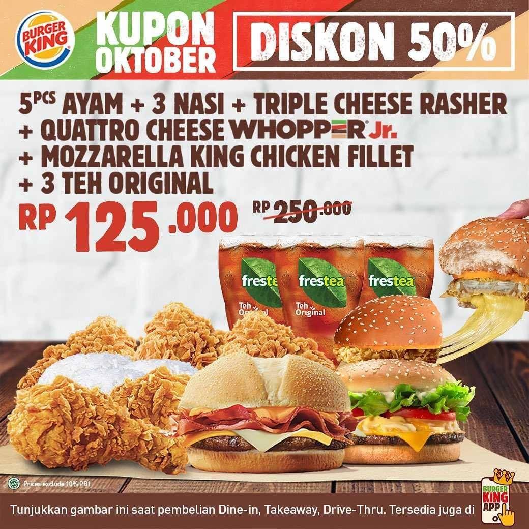 Burger King Kupon Diskon 50% Bulan Oktober - Disqonin