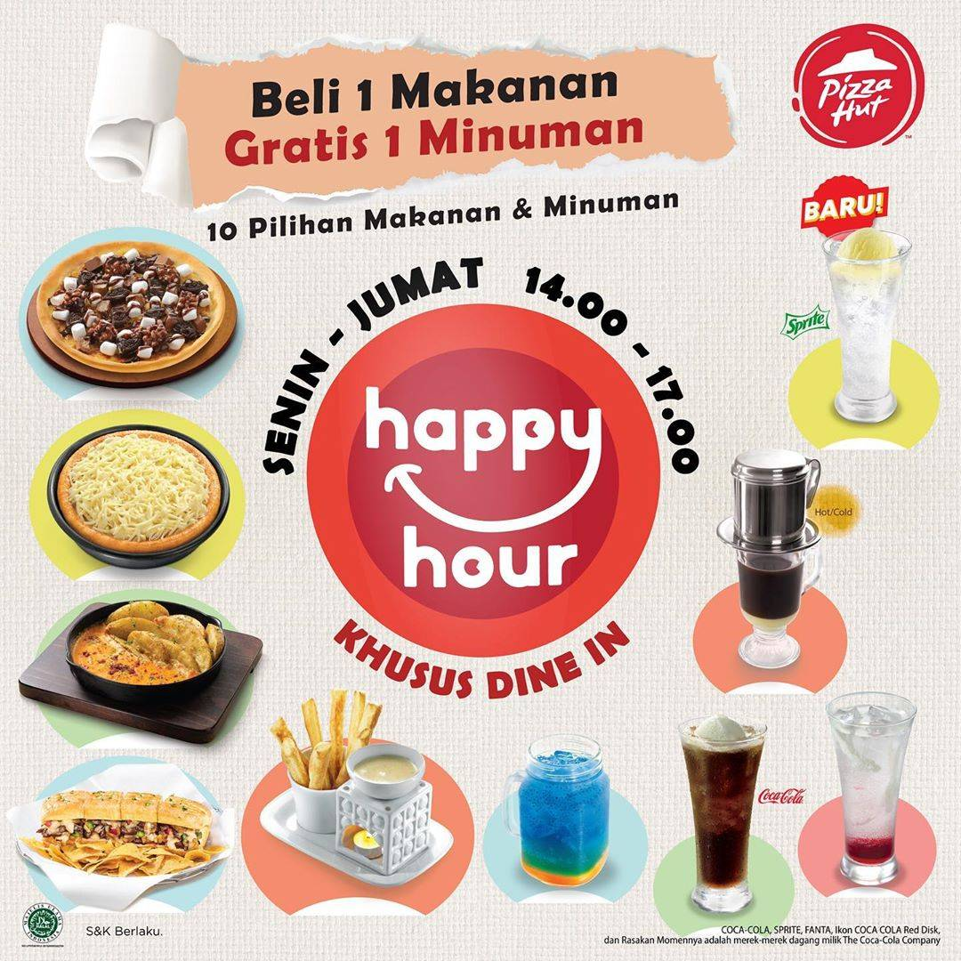 Diskon Pizza Hut Happy Hour - Beli 1 Makanan Gratis 1 Minuman