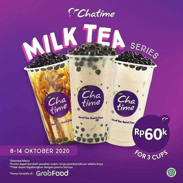 Diskon Chatime Promo Paket 3 Milktea Hanya Rp. 60.000 Di GrabFood