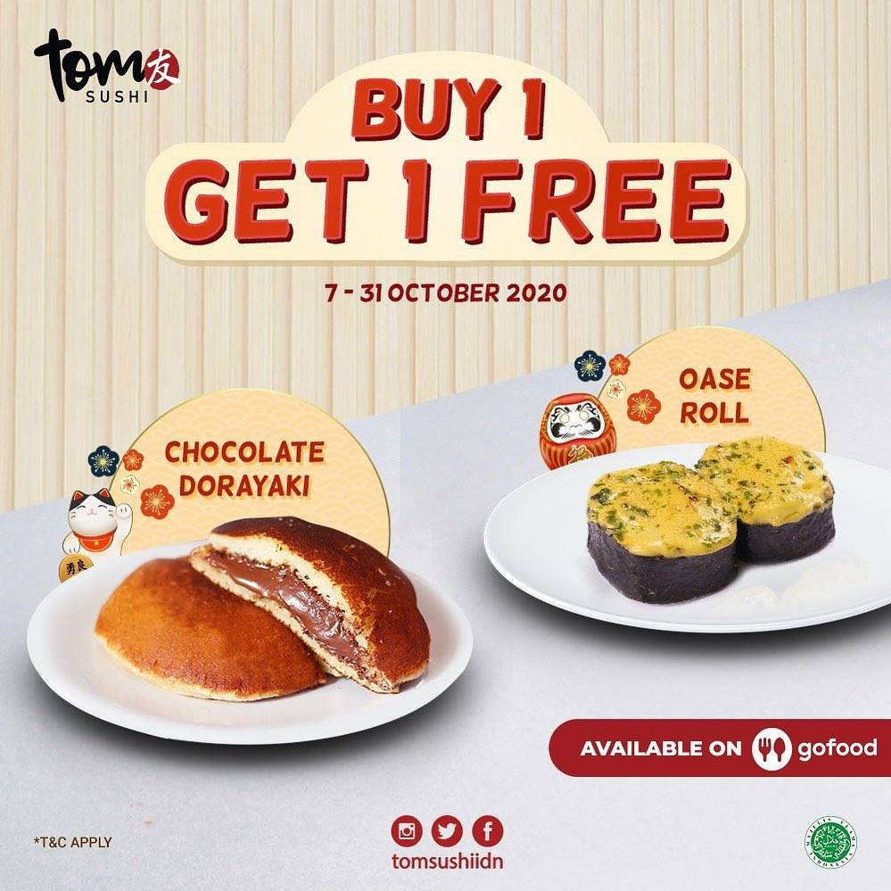 Diskon Tom Sushi Promo Buy 1 Get 1 Free Selected On Gofood