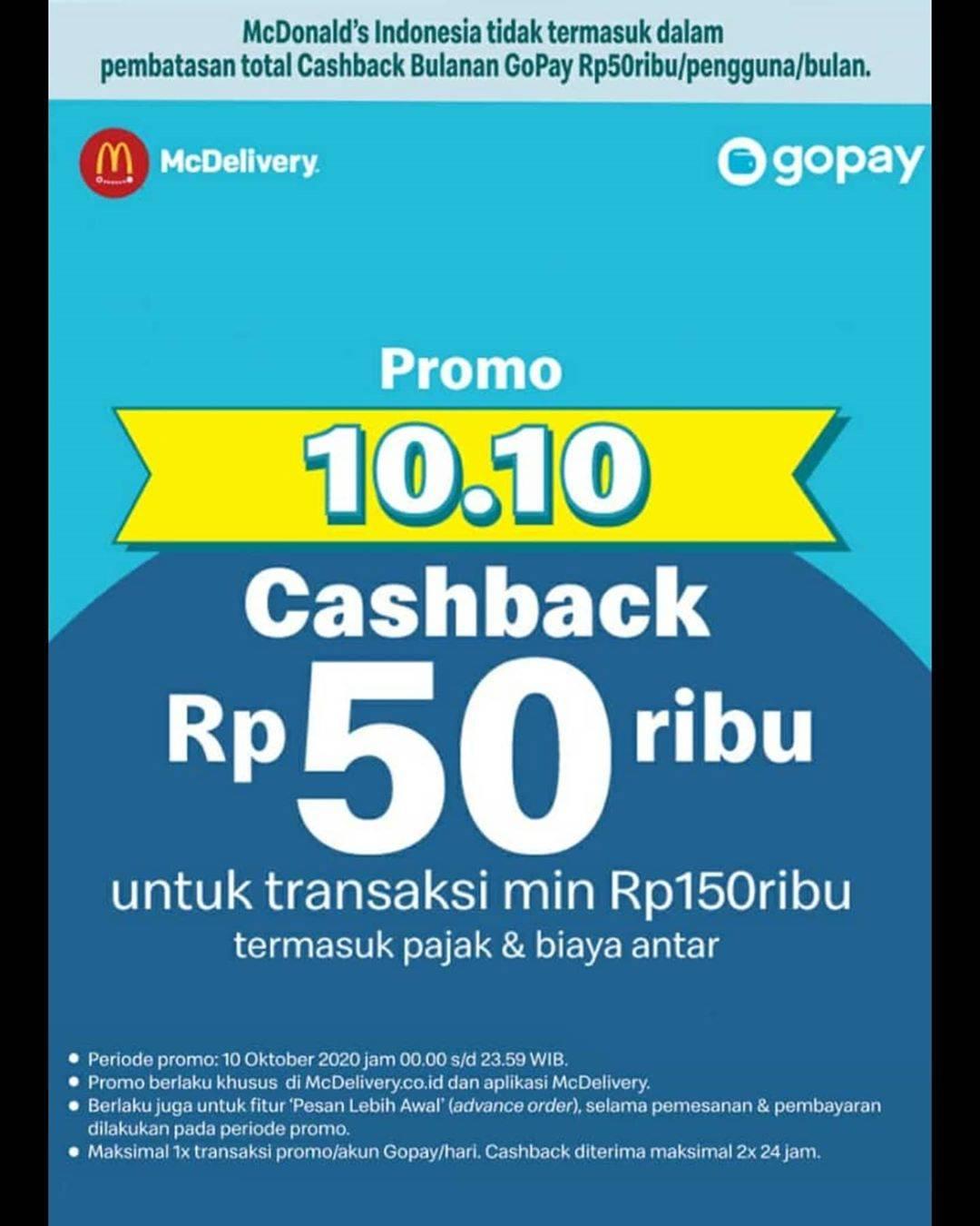 Mcdonalds Promo 10 10 Cashback Rp 50 000 Dari Gopay Disqonin